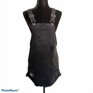 Women's distressed black jean overall dress Medium